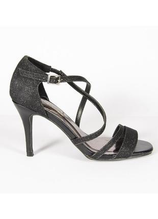 Босоножки на шпильке, черные босоножки, серебристые босоножки, открытые туфли