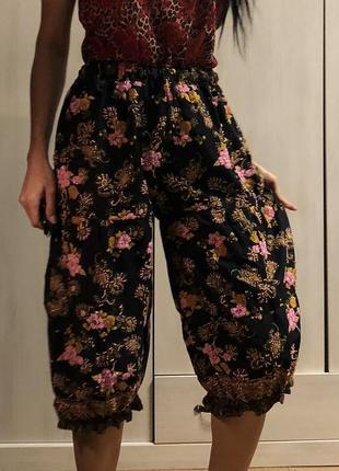Вышитые бисером узорные широкие йога штаны на резинках, гарем штаны
