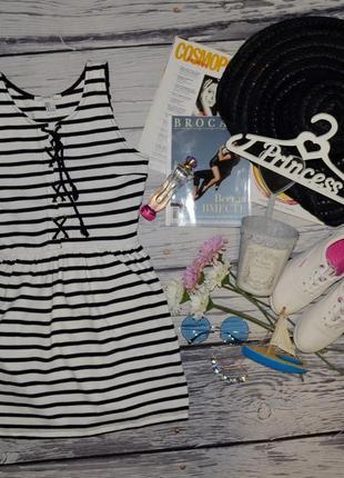 S фирменное платье мидди в полоску летний сарафан морской forever 21