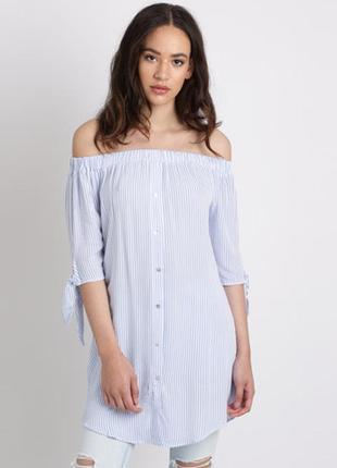 Удлинённая рубашка в полоску. платье в полоску
