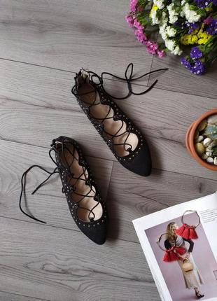 Балетки женские / туфли / туфельки с шнуровкой / красивые / балетки /25см шнурівка