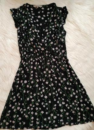 100% вискоза шикарное платье в цветочный принт цветы