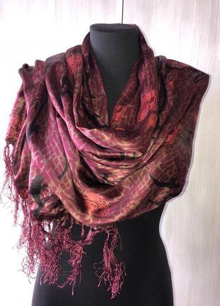 Японский бордовый длинный шарф, бордовая японская шаль, китайский принт шарфик