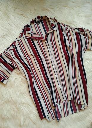 Щикарннйшая рубашка блузка в полоску с открытыми плечами свободная