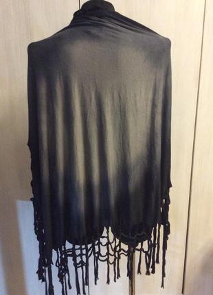 Черно серый омбре коттон шарф с висюльками