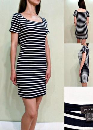 Базовое универсальное платье в полоску  рубчик 14-16