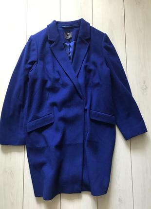 Шерстяное пальто бойфренд синего цвета большого размера