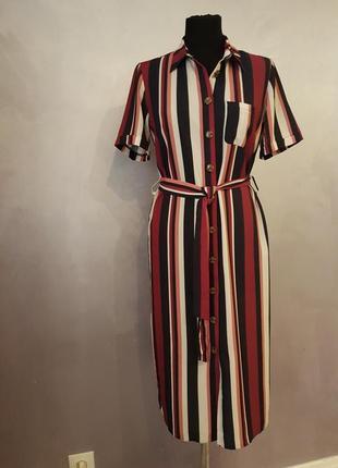 Трендовое миди платье рубашка в полоску