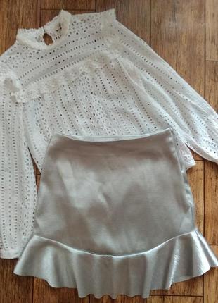 Невероятная юбка с воланами из плотной ткани от h&m