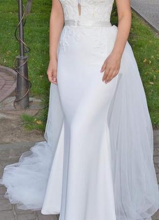Весільне біле плаття -рибка(трансформер),шлейф знімається.франція.
