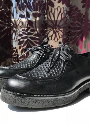 Роскошные кожаные туфли-ботинки, натуральная кожа, италия4 фото