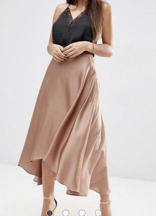 Шикарная сатиновая макси юбка от asos