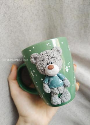 Чашка с мишкой с декором из полимерной глины