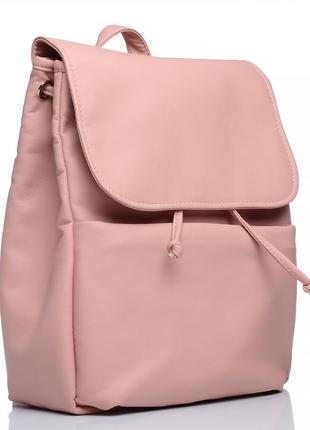 Пудровый школьный рюкзак с карманом под ноутбук с экокожи