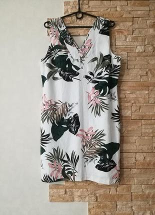 Льняное платье футляр,оригинальная расцветка