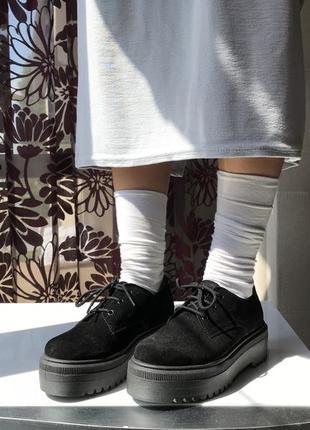 Ботинки на высокой подошве из натуральной замши на шнуровке