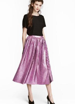 Юбка бархатная плиссированная, металлик h&m. роскошная яркая юбка!