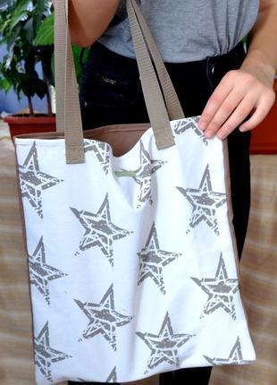 Сумка для покупок с звездами, эко сумка, торба, сумка для покупок, сумка шоппер 16