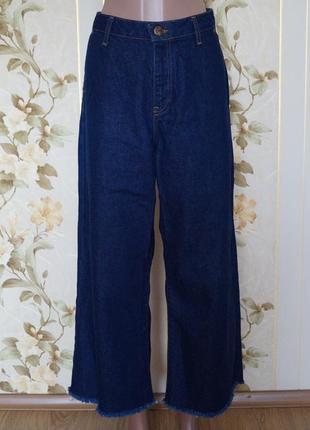 Широкие джинсы кюлоты с высокой посадкой1 фото