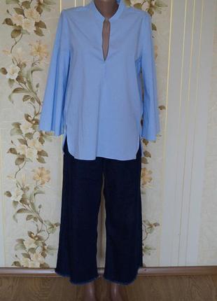 Широкие джинсы кюлоты с высокой посадкой7 фото