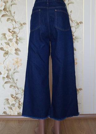 Широкие джинсы кюлоты с высокой посадкой2 фото