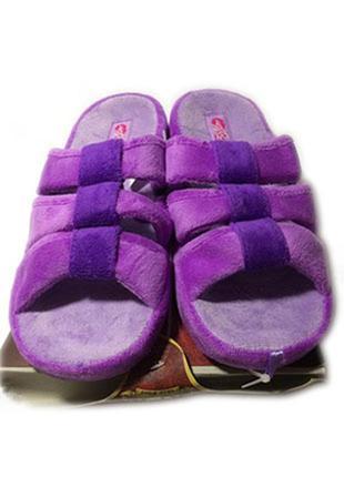 Фиолетовые открытые женские махровые тапочки шлепанцы с супинатором 4rest