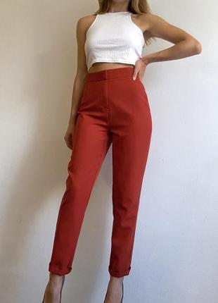 Брюки сигареты терракотовые брюки missguided