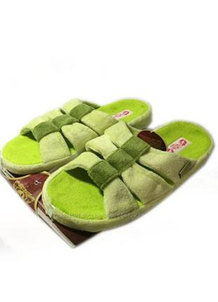 Яркие салатовые открытые женские тапочки для дома. махровые с ортопедической стелькой