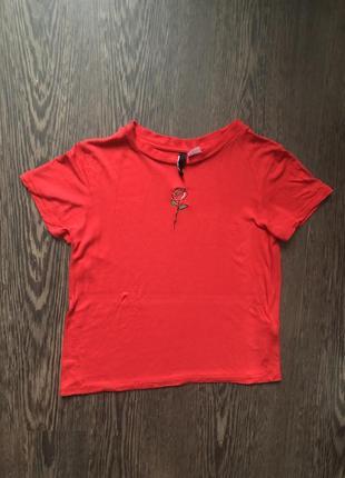 Красная футболка h&m с вышивкой и много скидок 🌺🌺🌺2 фото