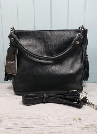 Женская кожаная сумка galanty чёрная жіноча шкіряна чорна