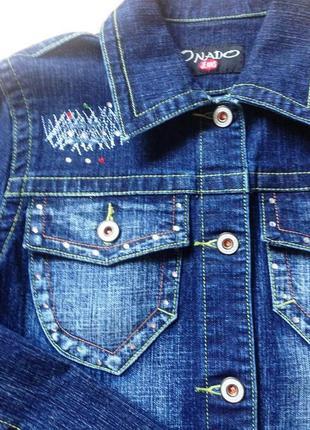 """Супер-красивая джинсовая куртка """"onado jeans"""" - франция - новая - со стразами - s"""