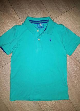 Яркая футболка-поло на 9-10 лет (134-140см).