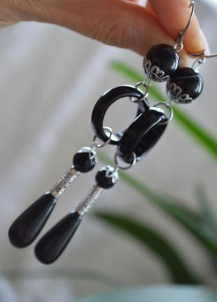 Серьги из черных агатов ′черный лотос′