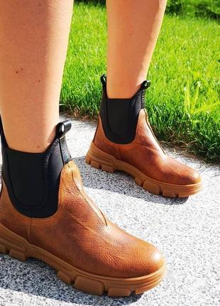 Эксклюзивные кожаные ботинки на утолщенной подошве