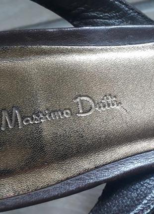 Кожаные босаножки massimo dutti коричневые туфли средний каблук5 фото