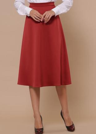 Терракотовая атласная юбка длины миди