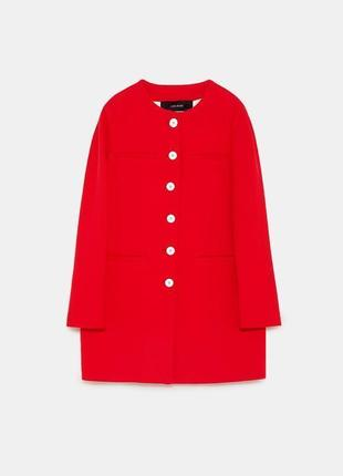 Красное пальто прямого кроя zara
