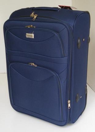 Чемодан дорожный, 60 см двухколесный, среднего размера,синего цвета
