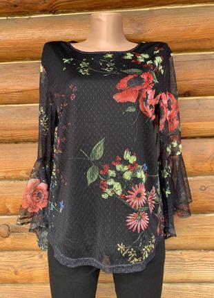 Нарядная кофточка блуза сетка с широким рукавом в цветочный принт roommates