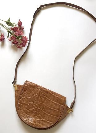 Сумка з довгою ручкою на плече, коричнева сумка.