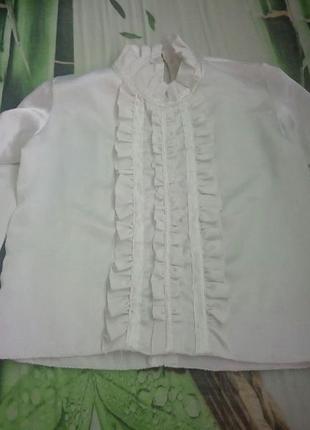 Блуза блузка атласная нарядная с рюшами в школу школьная