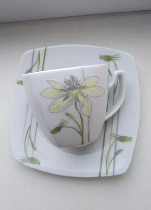 Кофейная пара чашка блюдце фарфоровая, 110 мл, польша