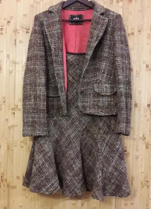 Шерстяной костюм юбка жакет пиджак