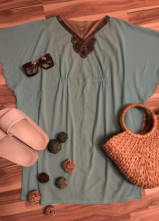 Красивая пляжная туника,летнее платье бирюзового цвета👗