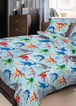 Полуторный постельный комплект динозавры, бязь gold люкс (пакистан)