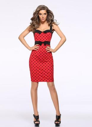 Красное мини платье карандаш в черный горошек