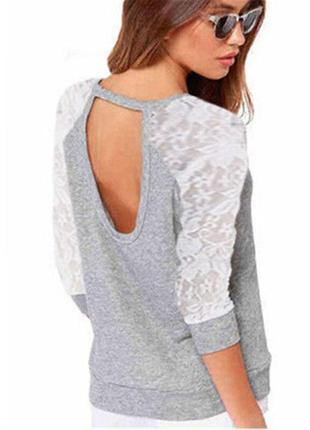 Женский пуловер с открытой спиной 46-48 размер