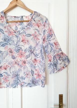 Шифонова блуза з рукавами-рюшами та люриксом від atm, на р. м/l