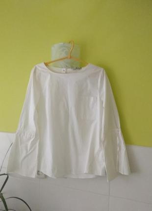 Белая рубашка блуза с контрастным пуговицами на спине от tu