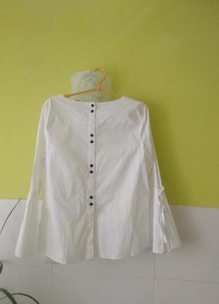 Белая рубашка блуза с контрастным пуговицами на спине от tu2 фото